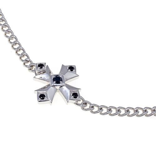 "Margo Manhattan 0.59ctw Black Spinel Malta Cross 18-1/4"" Sterling Silver Necklace"