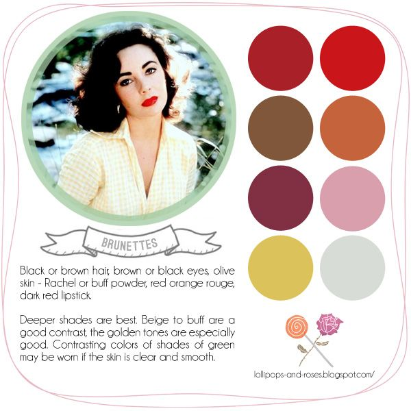 Lollipops and Roses: Vintage Style Guide  Colors for Brunettes
