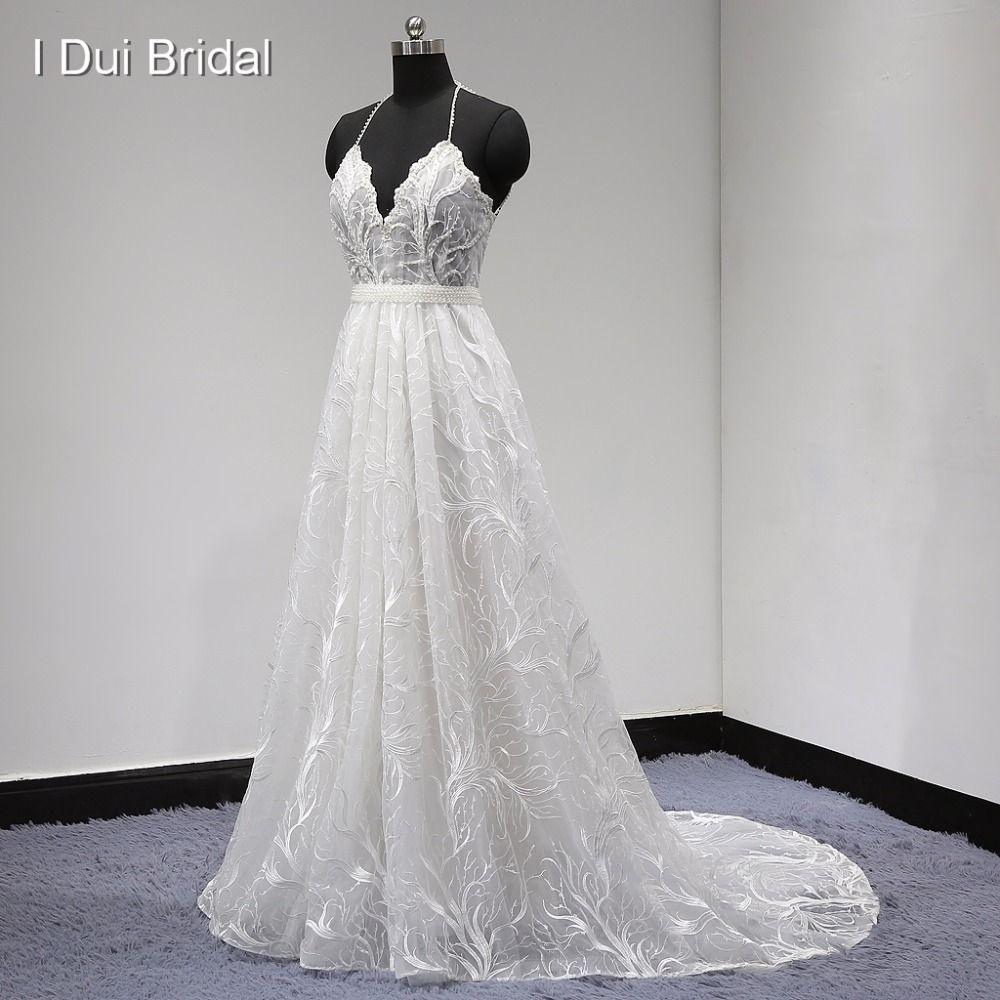 Lace wedding dress halter  Find More Wedding Dresses Information about Unique Lace Wedding