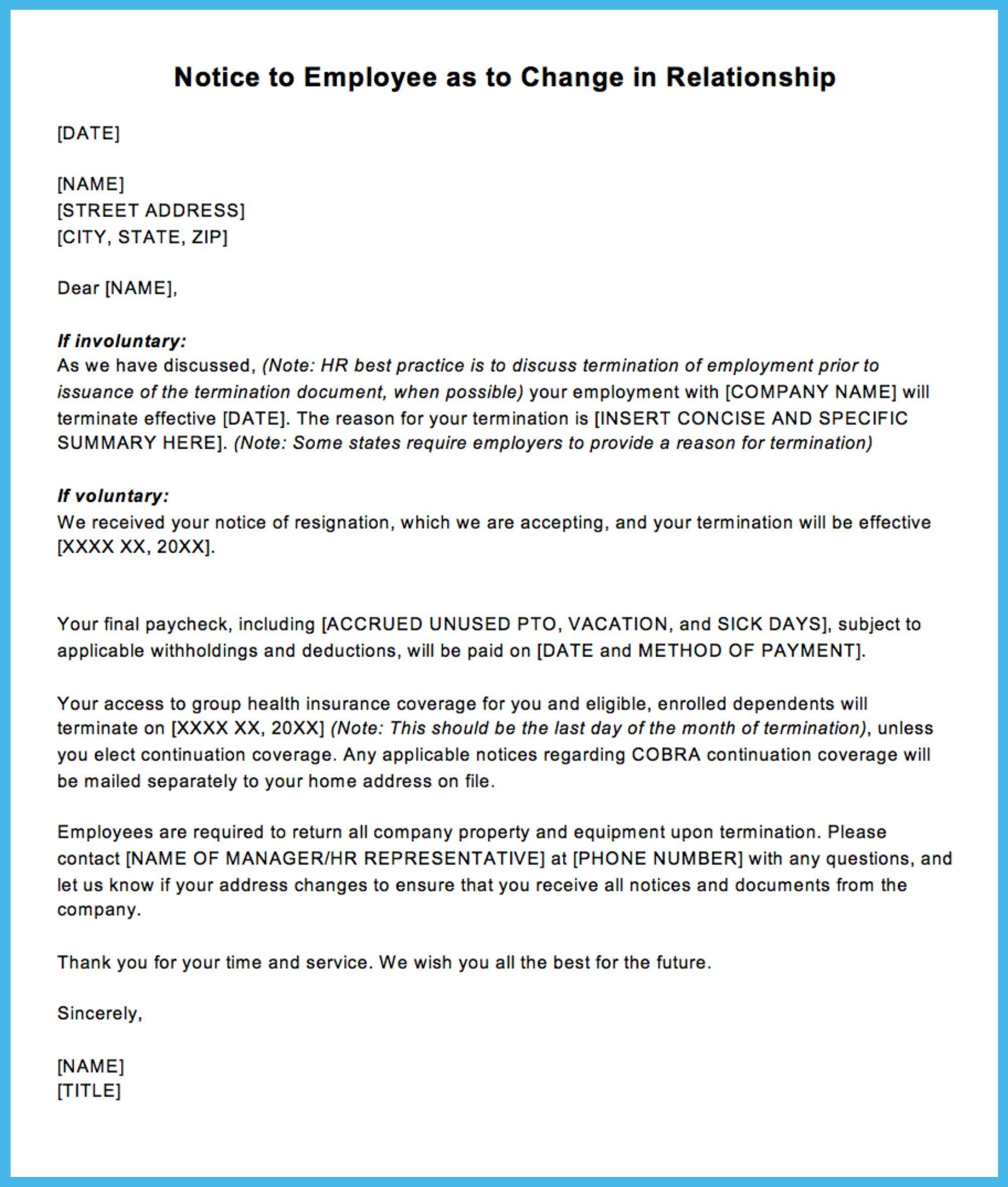 Sample Termination Letter Letter Templates Simple Cover Letter Template Resignation Letter Sample