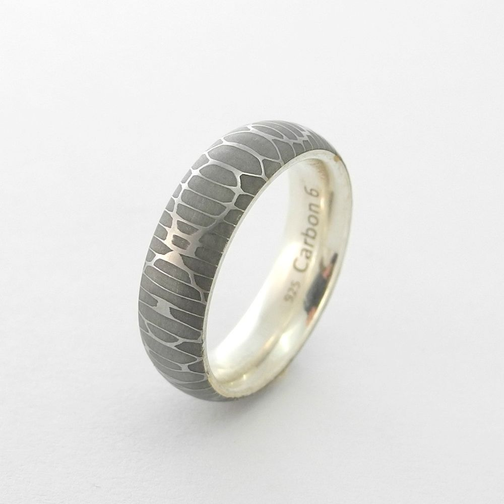 Comfort Fit Snakeskin Stainless Damascus Steel Minimalist Ring Solid ...