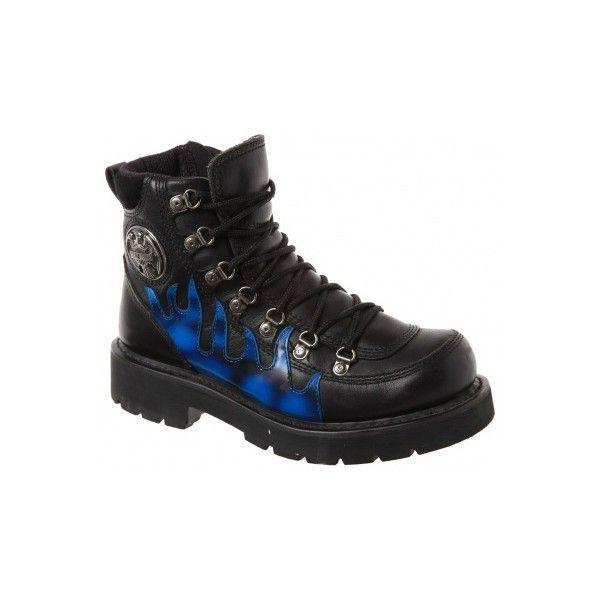 4141381a Harley Davidson Black Blue Flame Design Biker Boots | My Style ...