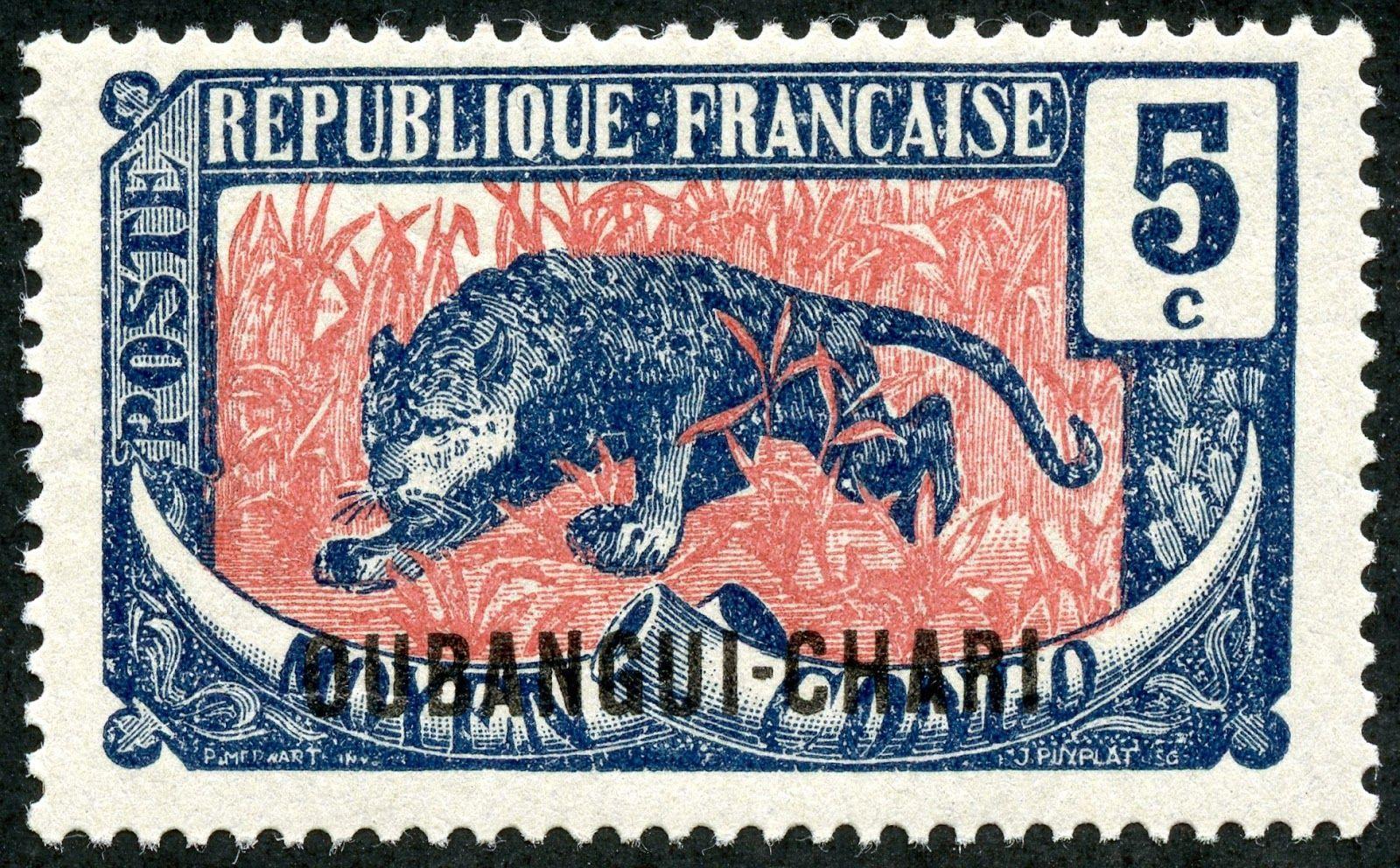 "Ubangi-Chari  1922 Scott 26 5c indigo & rose ""Leopard"" Color Type of Middle Congo of 1907-22, Overprinted in Black"
