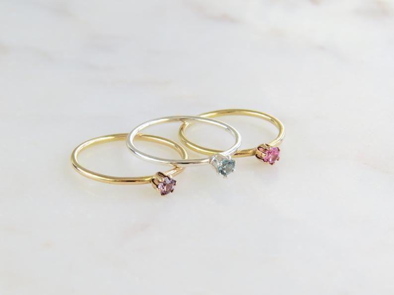Photo of Birthstone Ring | Tiny Birthstone Ring | Dainty Gold Ring | Minimalist Ring | Birthday Ring | Gold Stacking Ring | Gold Filled Ring