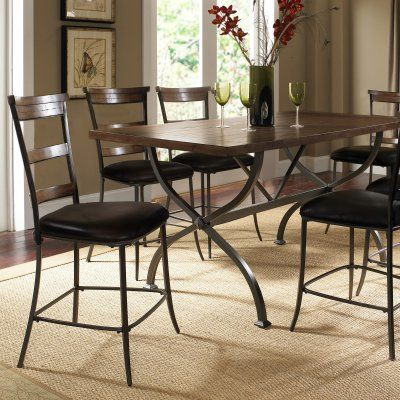 Hillsdale Cameron 7 Piece Counter Height Rectangle Wood Dining Table Set With Ladder Back Chairs