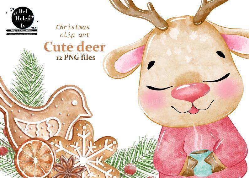 Watercolor Deer Clipart Christmas Clip Art Deer Cute Animal Etsy In 2020 Christmas Clipart Watercolor Deer Clip Art
