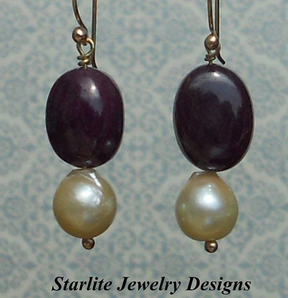 SOLD ~ Ruby Cabochon Drop Earrings  Accented with Vintage Baroque Pearls in Solid 14K Gold ~ by www.StarliteJewelryDesigns.com