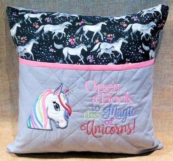 Girls child s reading pillow unicorn embroidered