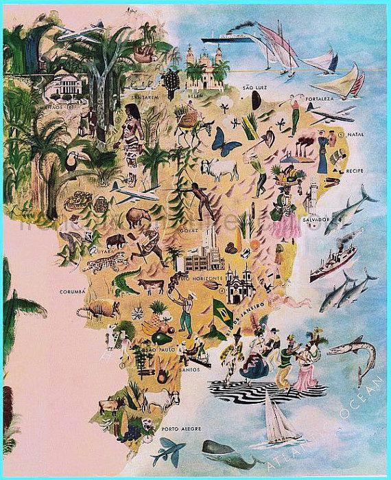 Antique Illustrated Map Brazil Etsy Cartography - Brazil map illustration