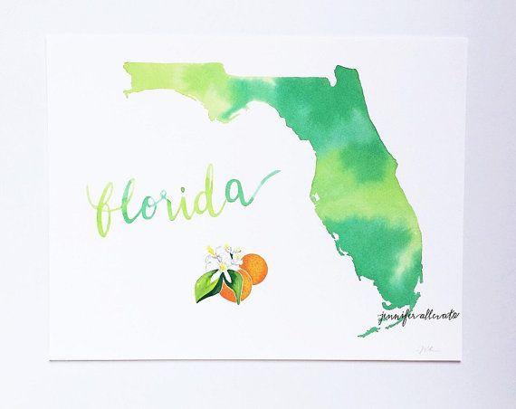 Florida Watercolor Map Print Watercolor Map Map Wall Art Wall