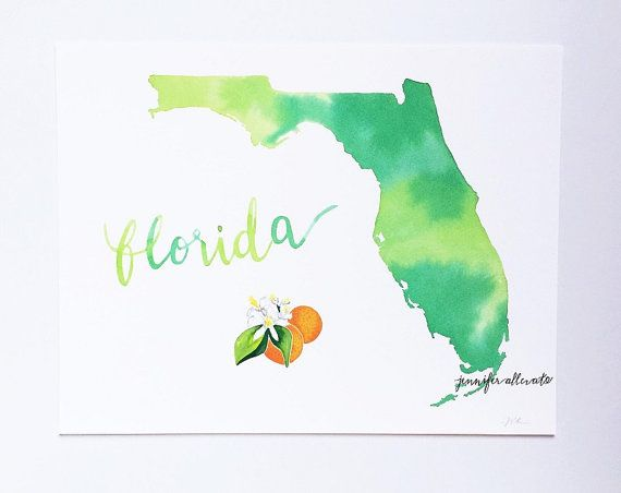 Florida Watercolor State Art Print Wall Art By Jenniferallevato
