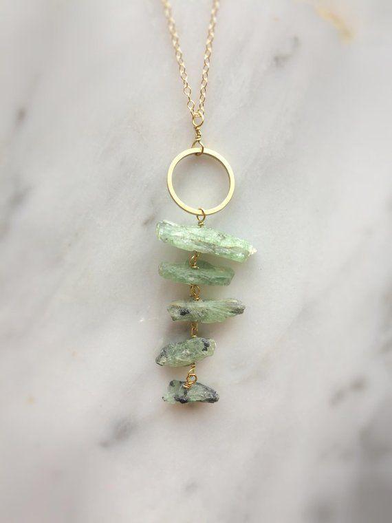 Raw Kyanite Necklace, Green Kyanite pendant, Raw Crystal Necklace, Raw Gemstone Necklace, Raw Stone Necklace, Kyanite jewelry, Boho Necklace