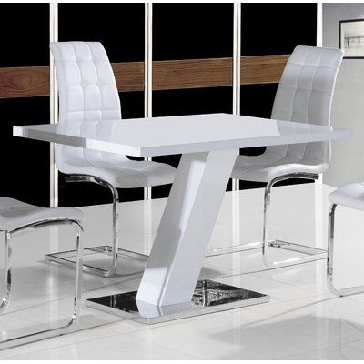 Glenbrook Dining Table White Gloss Dining Table White Leather