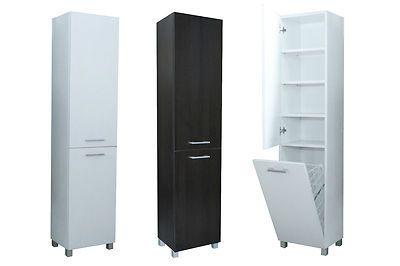 Tall White Bathroom Cabinet One Door Left Laundry Basket Ebay White Bathroom Cabinets Tall White Bathroom Cabinet Tall Cabinet Storage