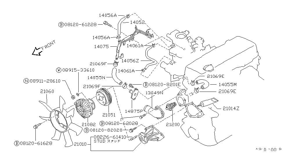 1994 Nissan Hardbody Pickup (1986.5-1994) Water Pump