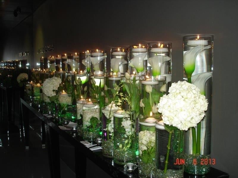 Vases Candles And White Flowers Sa Wedding Decor All White