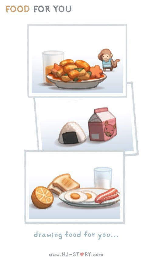 Since I couldn't make or buy you breakfast, I use to draw and send drawing of food to your phone in the morning :)  Subscribe to HJS @ http://tapastic.com/series/393 and see more!