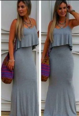 Vestido longo de malha cinza mescla