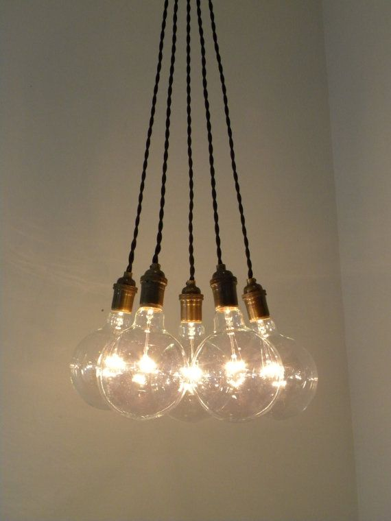 plug in pendant light cluster chandelier antique brass with vintage twisted black wire by hangout lighting