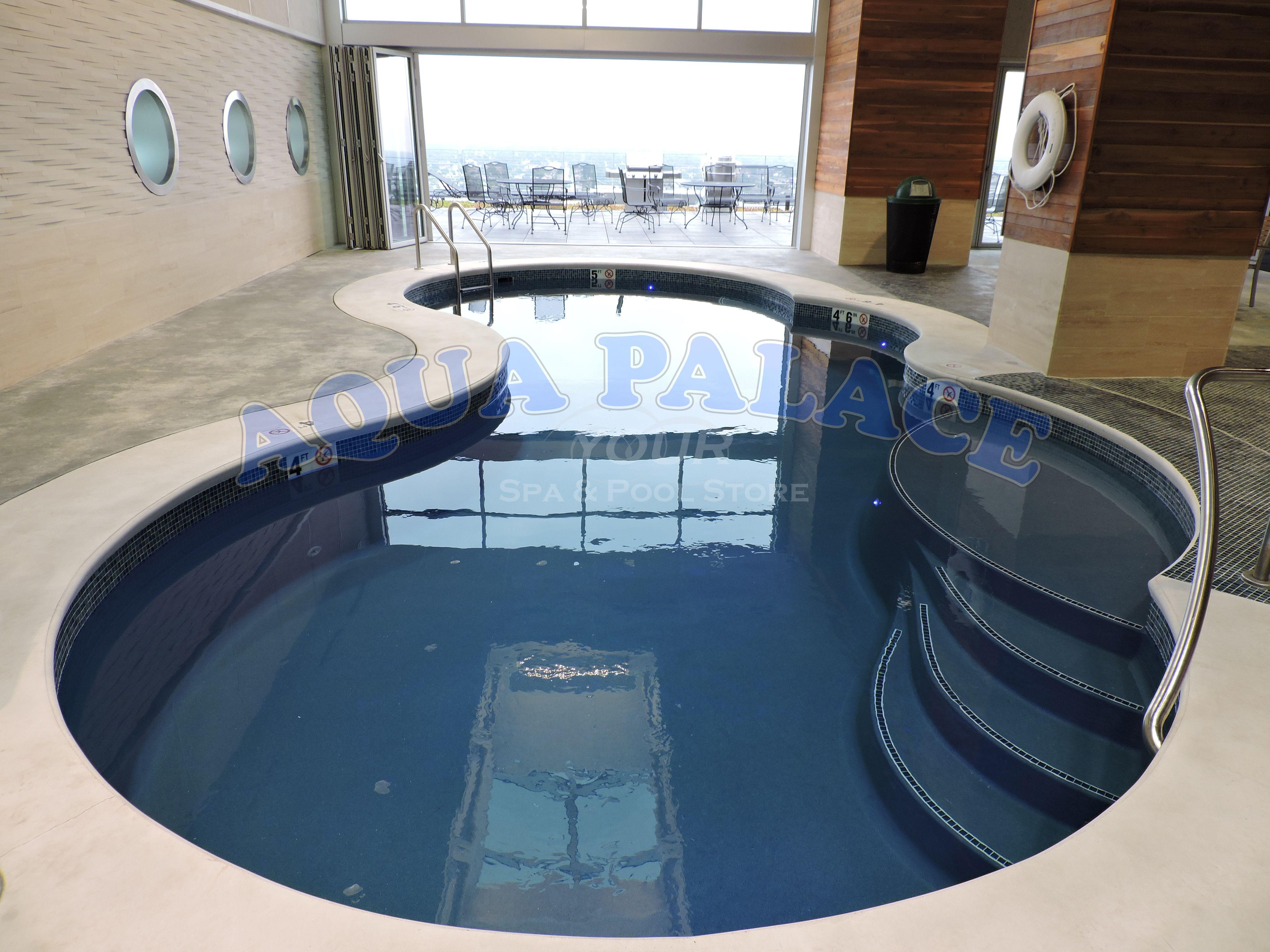 Fiberglass Pool On 13th Floor Inside Of Downtown Omaha Ne Apartment Complex Custom Pool Tile Concrete Work Around Pool Perim Pool Custom Pools Pool Builders
