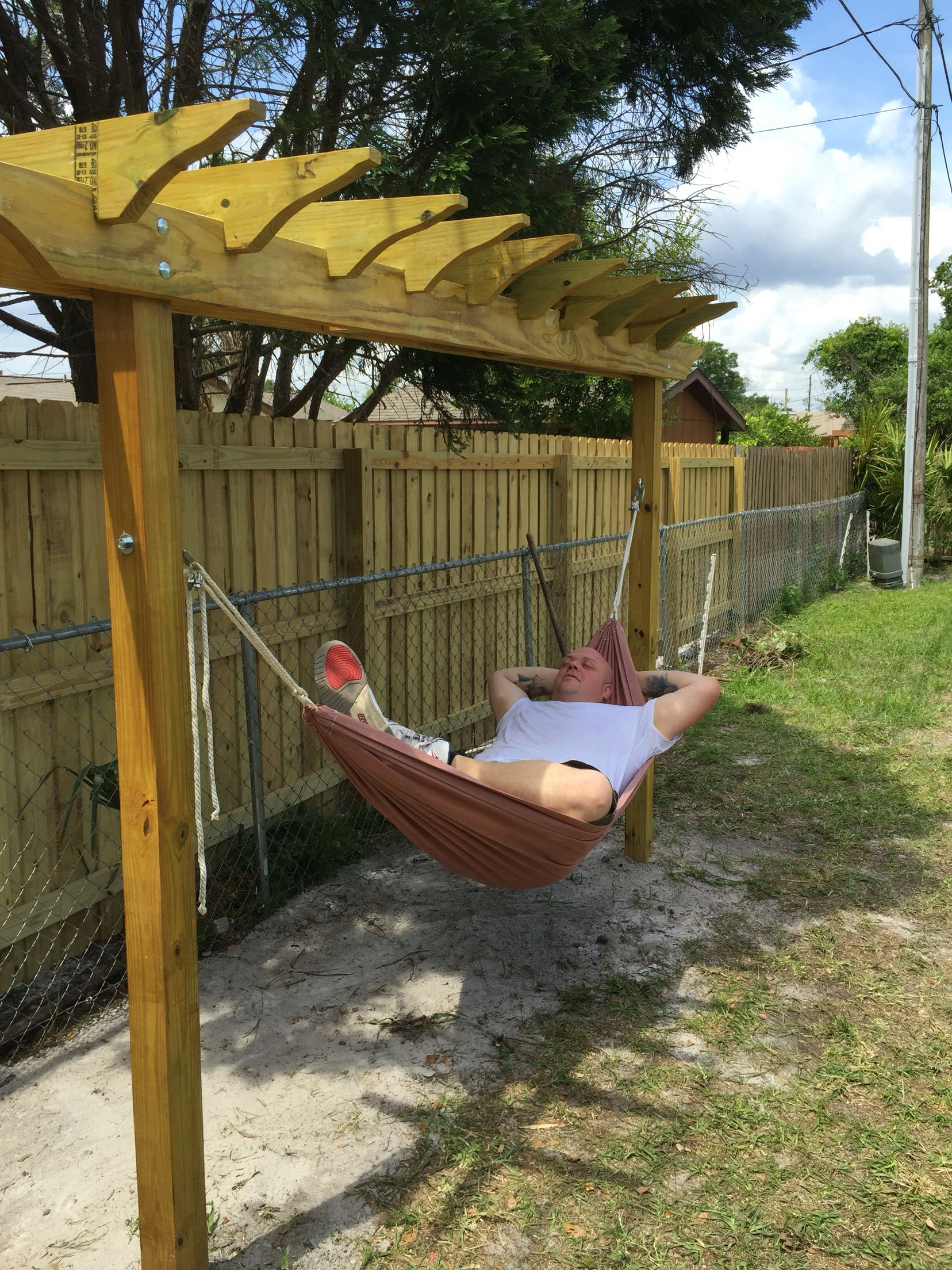 Back Yard Hammock Swing Pergola Done For Under 100