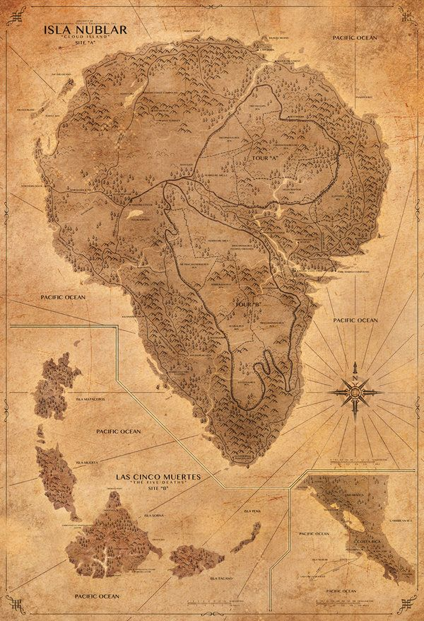 Map of Jurassic Park (Map of Isla Nublar, The Five Deaths & Costa Rica) This map is my educated interpretation of pre-existing information from the Movies, Books and Kauai, Hawaii. This map includes...