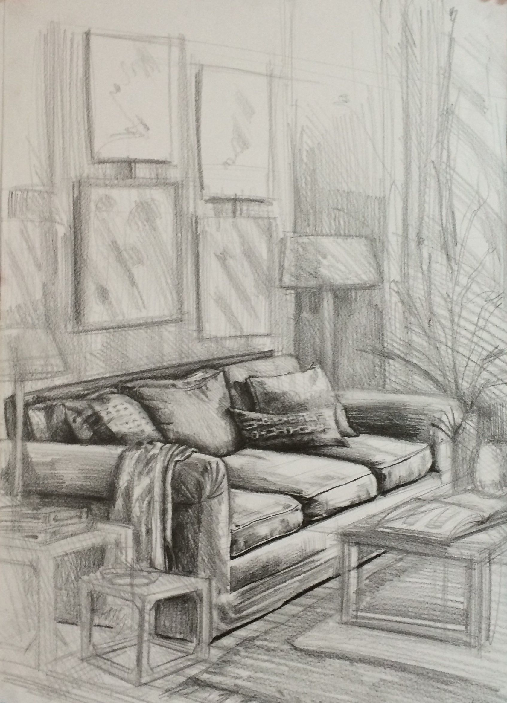 Inside House Drawing: Furniture Drawing,couch,pen Drawing,interior Karakalem,iç