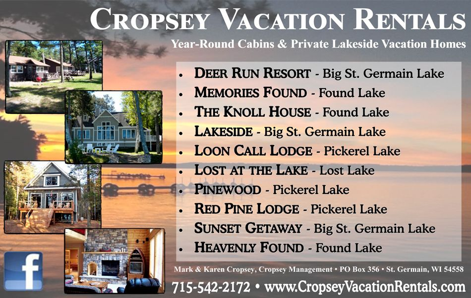 Cropsey Vacation Rentals We Have The Northern Wisconsin Vacation