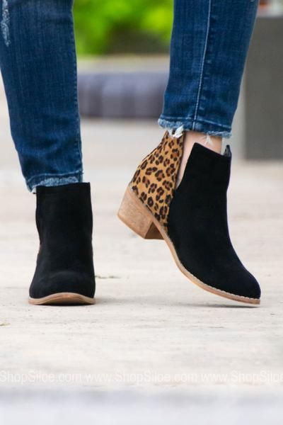 196e4b5081217 Black Leopard Suede Booties - Siloe | Boots | Suede booties, Shoes ...