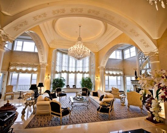 Large Majestic Very Formal Living Room Arched And Vaulted Ceiling Columns