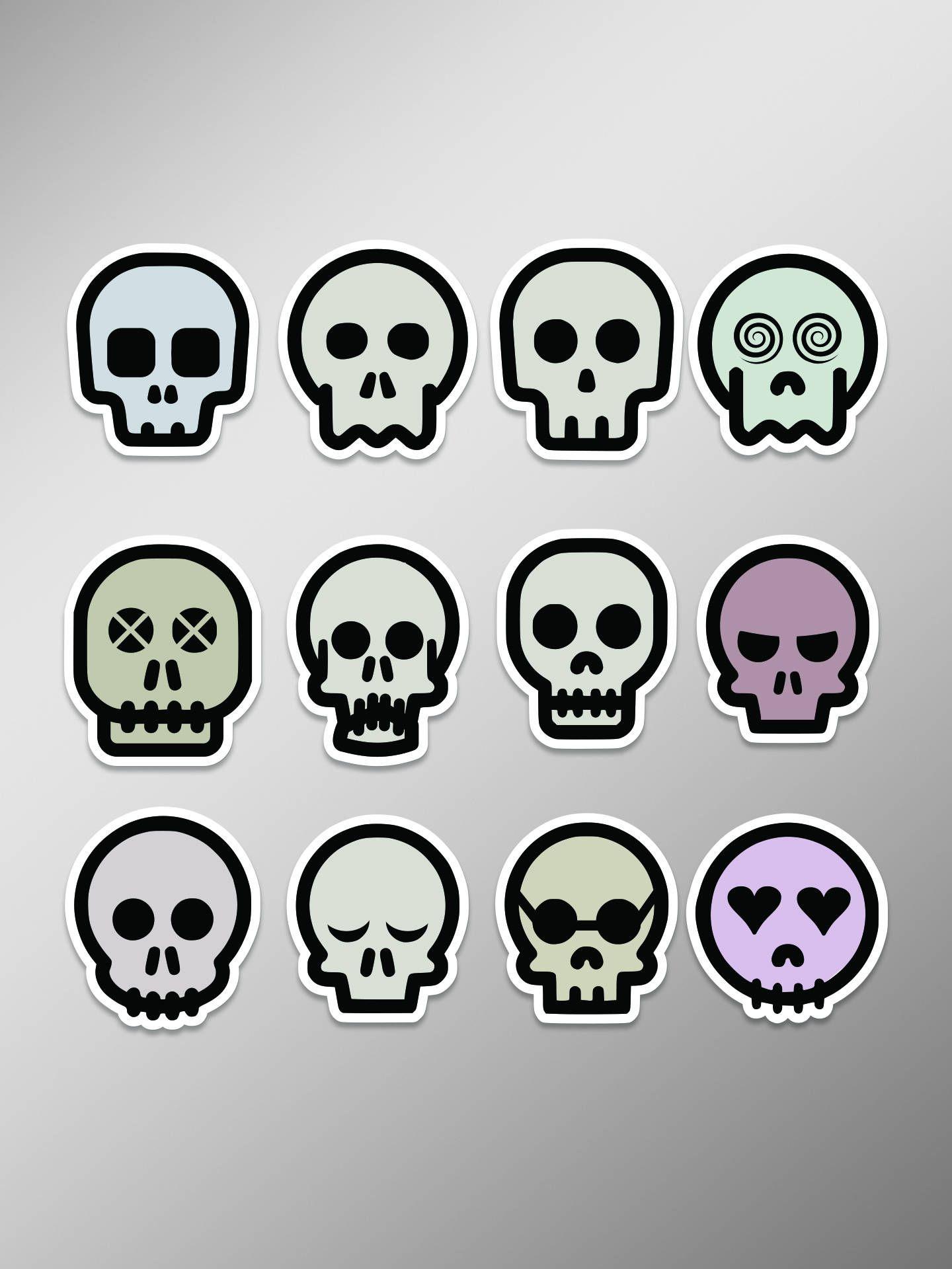 Skull Emoji Set Of 12 Full Color 4 Inch Vinyl Laptop Decal By Castlepeakgraphics On Etsy Emoji Set Skull Art Cartoon Design
