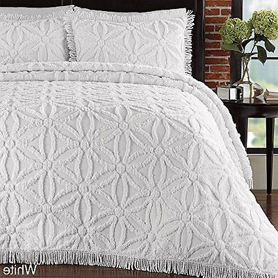102 X 120 Oversized White Chenille Bedspread Queen Set Textured Floral Drapes Bed Spreads Flower Of Life Pattern Chenille Bedspread
