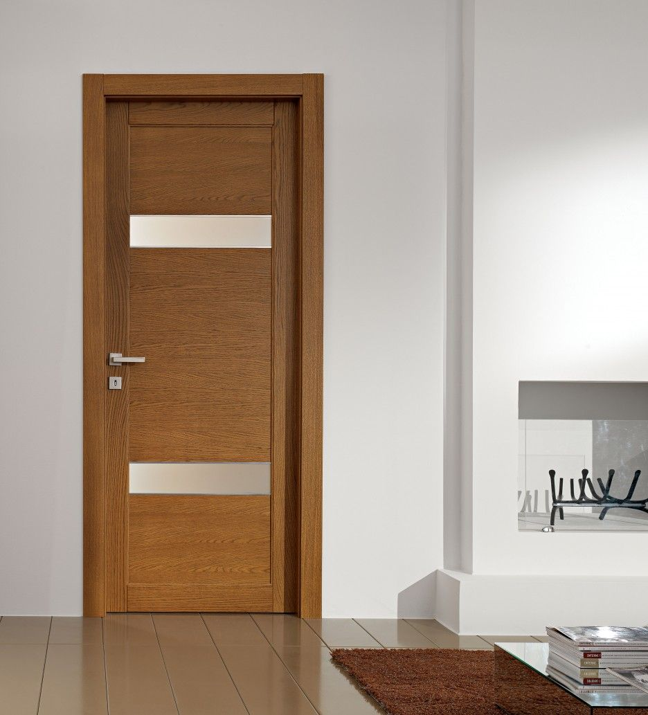 Breathtaking interior door with frosted glass panels in simple ...