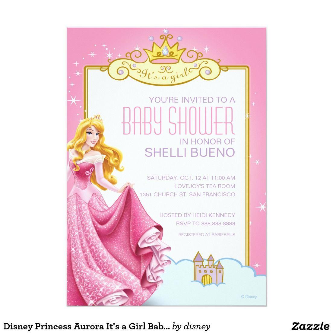 Disney Princess Aurora It\'s a Girl Baby Shower Card | Disney ...