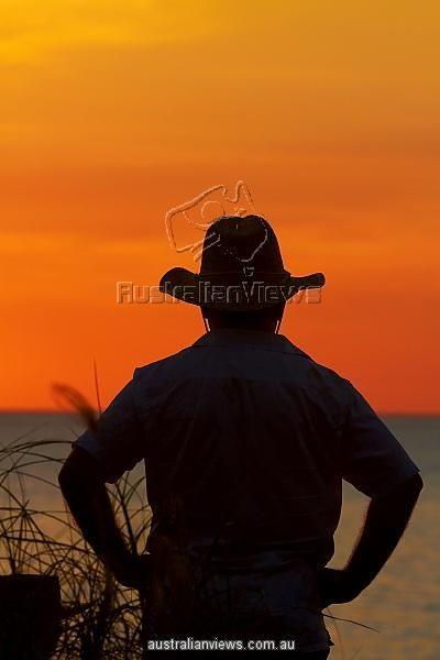 Man in akubra on the Beach by Mindil Beach Sunset Market, Darwin, Northern Territory,