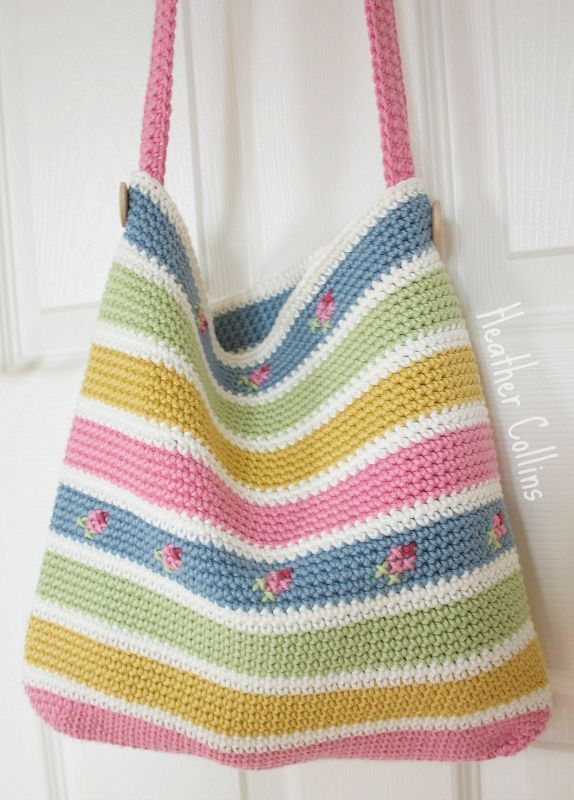 """Click on """"Crochet Patterns and Tutorials"""" at top of page. The pattern is not free. Love the colors used--so light and feminine."""