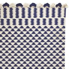Navy/Ivory Zig Cotton Dhurrie Rug   Serena & Lily