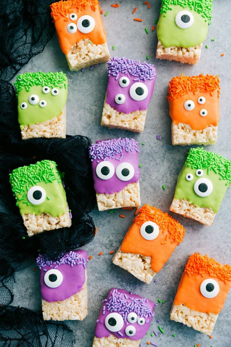 3-ingredients to make these adorable (and delicious) Halloween treats -- Monster Rice Krispies Treats, Peanut Butter Spider Cookies, Nutter Butter Ghosts, and Witch Finger Pretzels. chelseasmessyapron.com #halloweencookies