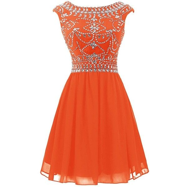 Wedtrend Women's Short Prom Dress with Beads Chiffon Cocktail Dress... ($85) ❤ liked on Polyvore featuring dresses, orange cocktail dress, cocktail prom dress, beaded dress, short beaded dress and beaded chiffon dress