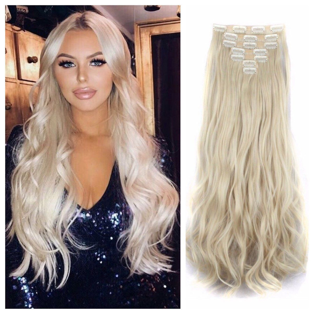 Bleach Blonde Hair Extensions Clip In Remy Human Hair Weave 24 Wavy