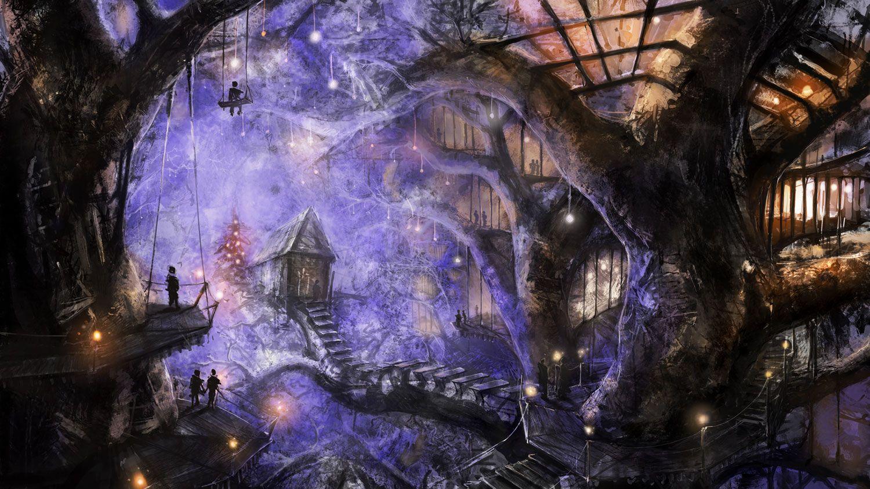 24+ Night Fantasy Village Art Pics