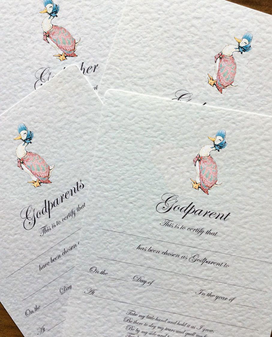 3 49 Gbp Christening Certificate Jemima Puddle Duck Design