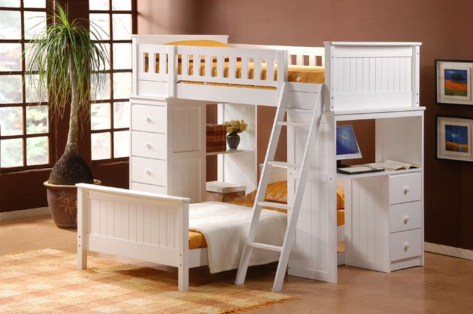 Etagenbett Hochbett Doppelstockbett : White finish loft bed with drawers desks upper bunk and twin
