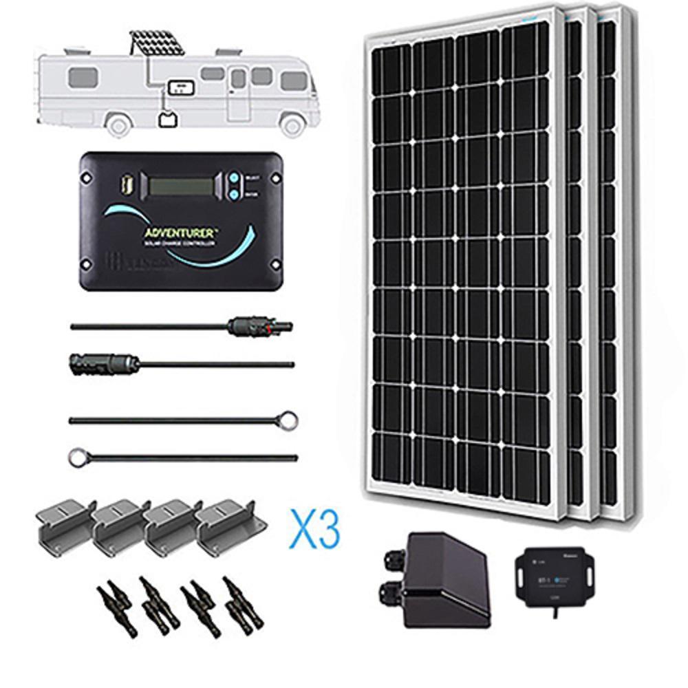 Renogy 300 Watt 12 Volt Monocrystalline Solar Rv Kit For Off Grid Solar System Products Off Grid Solar Solar Panels Solar Panel Kits