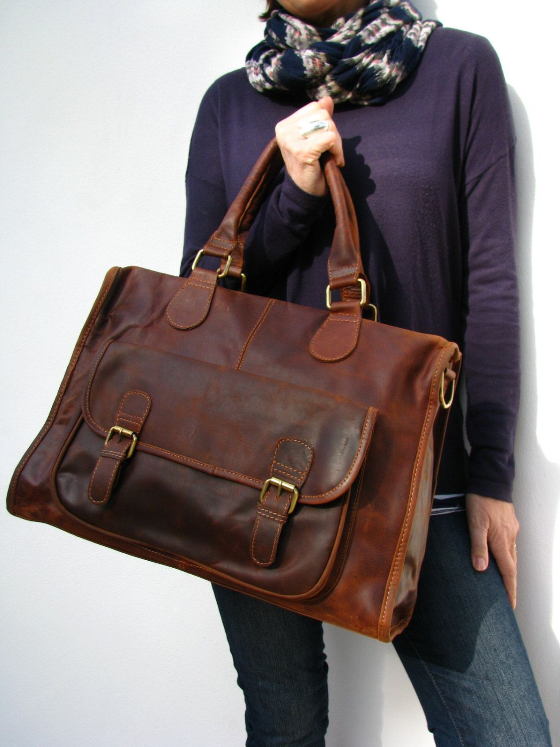 Leather Handbag Laptop Pocket Bag Vintage Look Brown 160 00 Via Etsy