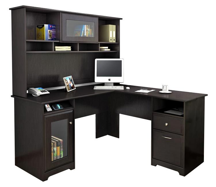 L Shaped Desk With Hutch Espresso Oak By Bush   1 800 460 0858   Free  Shipping   Office Furniture 2go.com