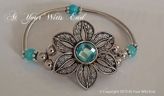 Stretchy Flower Bangle flower bracelet stretchy by AtYourWittsEnd