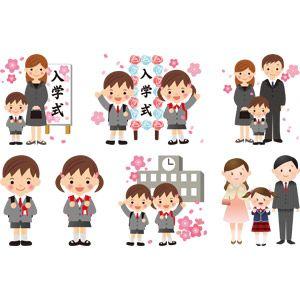 フリーイラスト ベクター画像 Ai 学校 入学式 学生生徒 小学生