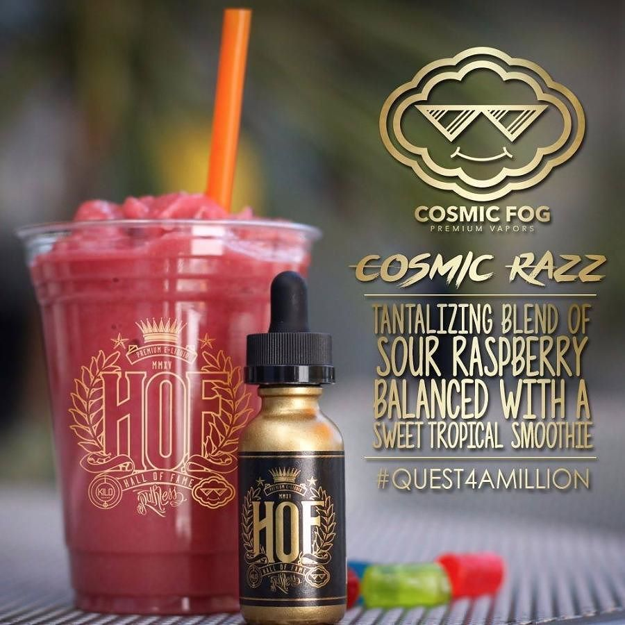 Have you checked out @HOFeliquid lately? The project includes the 3 largest names in the industry each bringing a flavor to the table. The newest flavor to join the Hall of Fame is from @cosmicfogvapors. Cosmic Razz is the perfect blend of a sweet raspberry smoothie and tart hard candies.  Join them for their #Quest4AMillion to save vaping! Check out their bio to learn more about the project.  Join The Hall of Fame launching early 2016.  #HOF #HOFeliquid by vapeporn