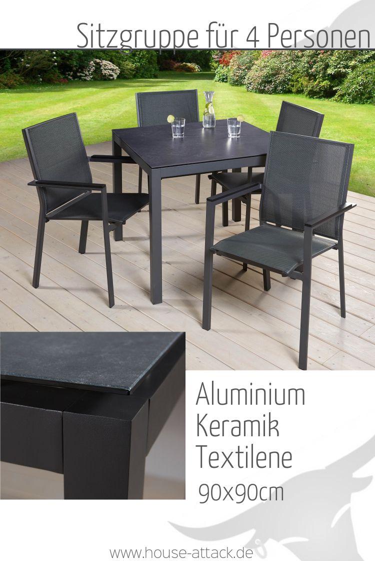 Sitzgruppe Gartenset Dining Set 4 Personen Alu Keramik Textilene